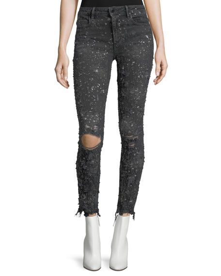 T by Alexander Wang Destroyed Skinny-Leg Raw-Hem Jeans