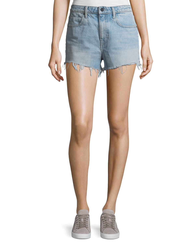 4fbf1340fce0 alexanderwang.t Bite Light-Wash High-Rise Cutoff Denim Shorts ...
