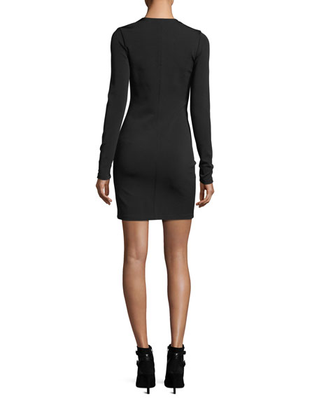 Deep V-Neck Stretch Faille Ponte Long-Sleeve Dress w/ Zipper
