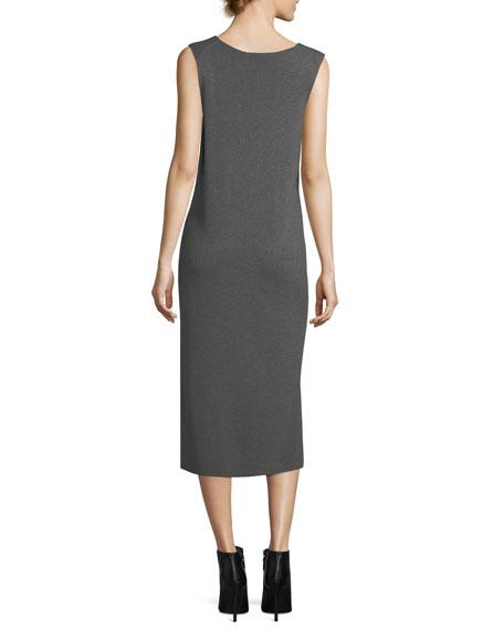 V-Neck Sleeveless Shift Midi Dress