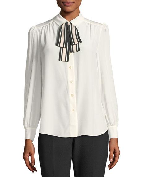 kate spade new york long-sleeve silk button-down shirt