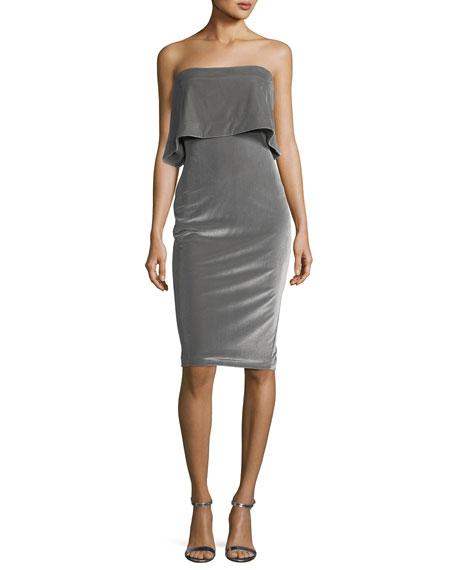 Driggs Strapless Popover Velvet Fitted Cocktail Dress