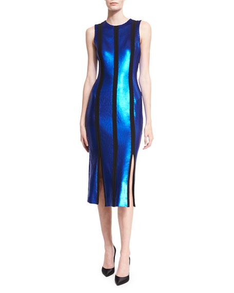 Sleeveless Tailored Sequin Paneled Dress