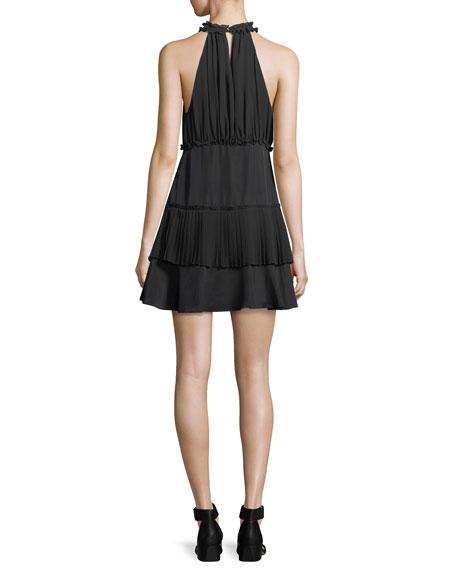Weston Mock-Neck Sleeveless Smocked Mini Dress