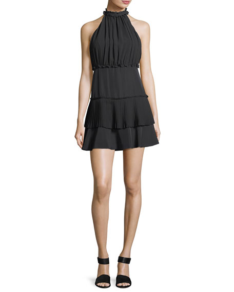 Likely Weston Mock-Neck Sleeveless Smocked Mini Dress