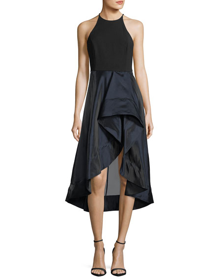 Halston Heritage High-Neck Sleeveless Cocktail Dress w/ Flounce
