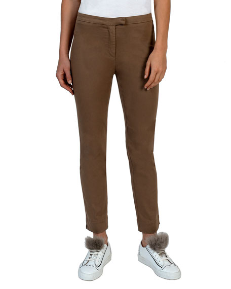 Stretch-Cotton Slim-Leg Pants