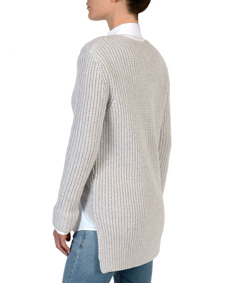 Ribbed Double-Breasted High-Low Cardigan