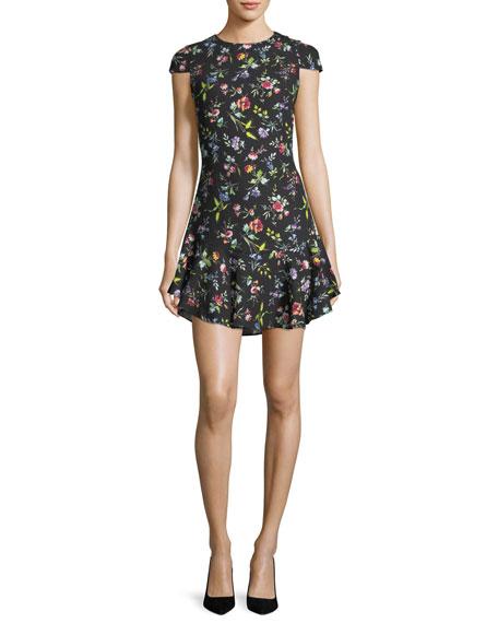 Likely Belle Bright Botanical Cap-Sleeve Mini Dress