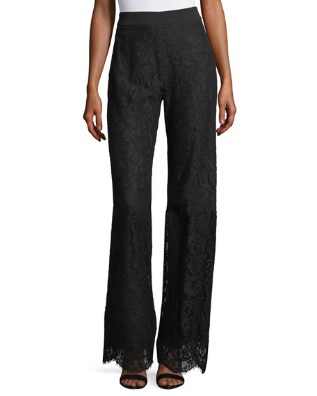 Nanette Lepore Renee High-Waist Lace Wide-Leg Pants