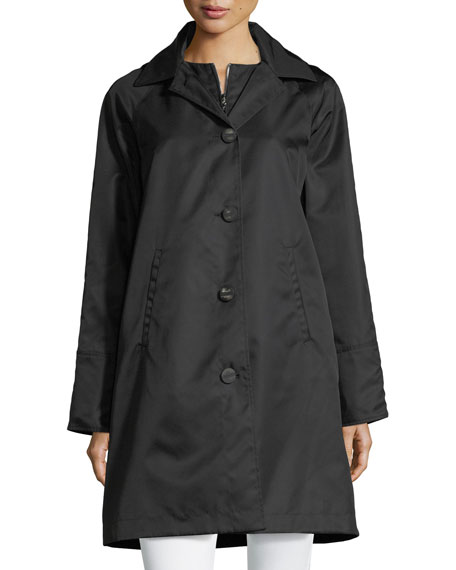 Jane Post Button-Front Long-Sleeve Twill Midi Rain Coat