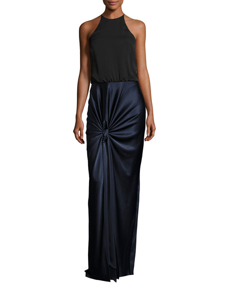 Halston Heritage Sleeveless High-Neck Mixed-Media Twist-Drape