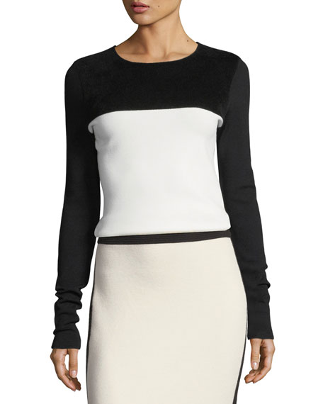 Diane von Furstenberg Colorblocked Fitted Pullover Wool-Knit