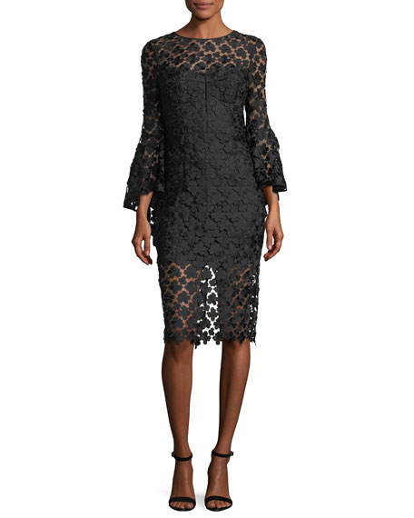 Milly Anya Floral-Embroidered Lace Cocktail Dress