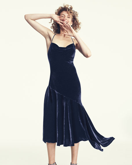 Lienne Strappy Panne Velvet Dress