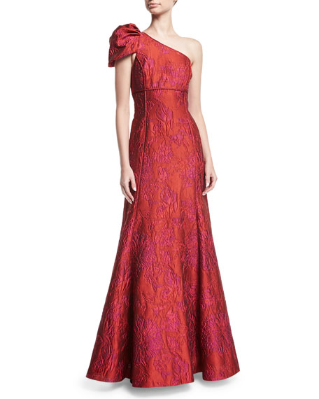 Aidan Mattox One-Shoulder Jacquard Evening Gown
