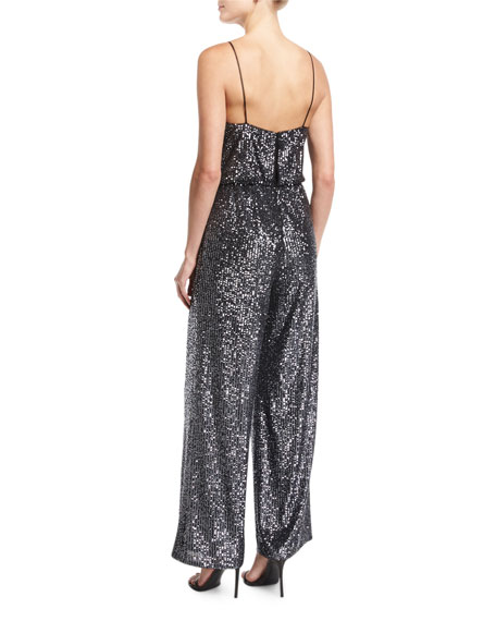 Spaghetti-Strap V-Neck Sequin Jumpsuit