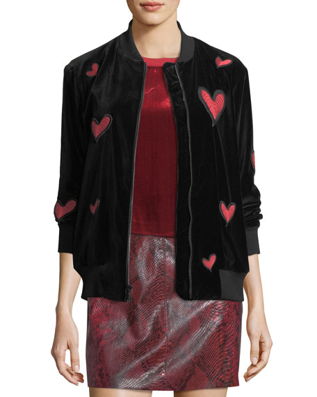 Lila Embroidered Patch Oversized Velvet Bomber Jacket