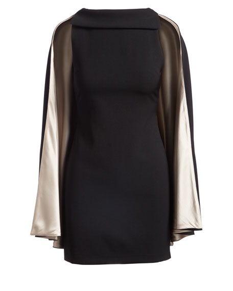 Neely Fitted Long Cape Sheath Dress