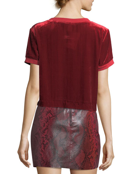 Piera Rib-Trim Short Velvet Tee
