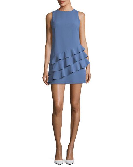 Clive Asymmetric Ruffle Sleeveless A-line Dress