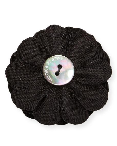 Satin Dahlia Flower Lapel Pin, Black