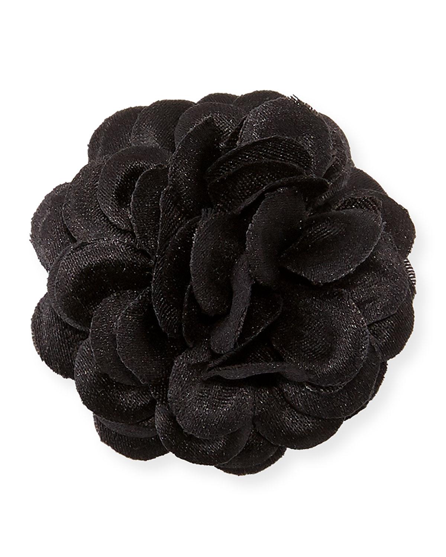 Hook albert satin dahlia flower lapel pin black neiman marcus satin dahlia flower lapel pin black izmirmasajfo