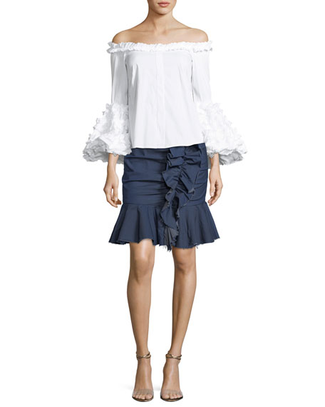 Ruffled Chambray Mini Skirt