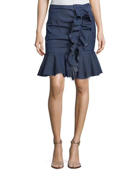Caroline Constas Ruffled Chambray Mini Skirt