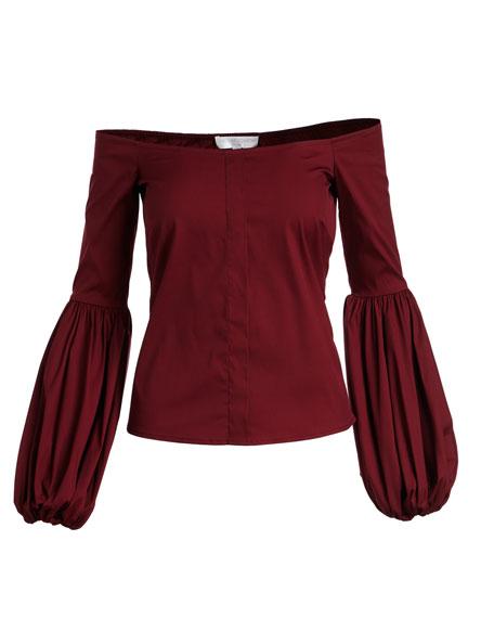 Gisele Off-the-Shoulder Blouson-Sleeve Blouse