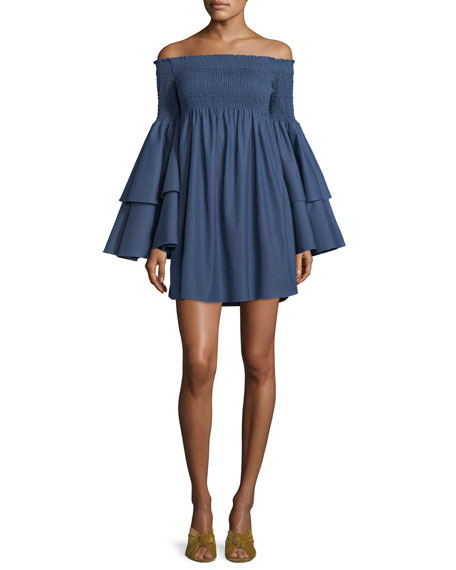 Caroline Constas Appolonia Off-the-Shoulder Layered-Bell Sleeve