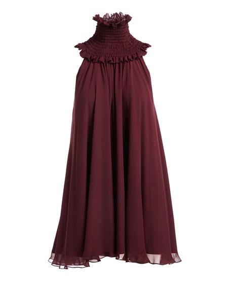 Vicki Smoked-Neck Sleeveless Swing Dress