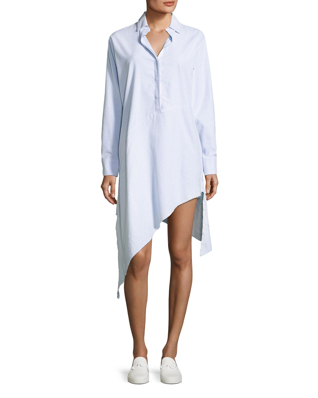 Frank Eileen Drake Long Sleeve Asymmetric Hem Shirtdress Neiman