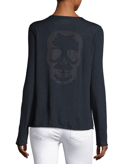 Beaded Skull Long-Sleeve Bi-stretch Wool Sweater