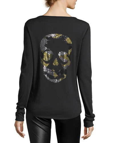 Tunisien Long-Sleeve Beaded Skull Cotton Tee