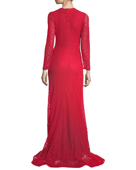 Long-Sleeve Slit Lace Evening Gown