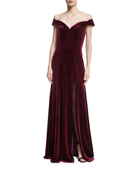 Jovani Off-the-Shoulder High-Slit Velvet Evening Gown