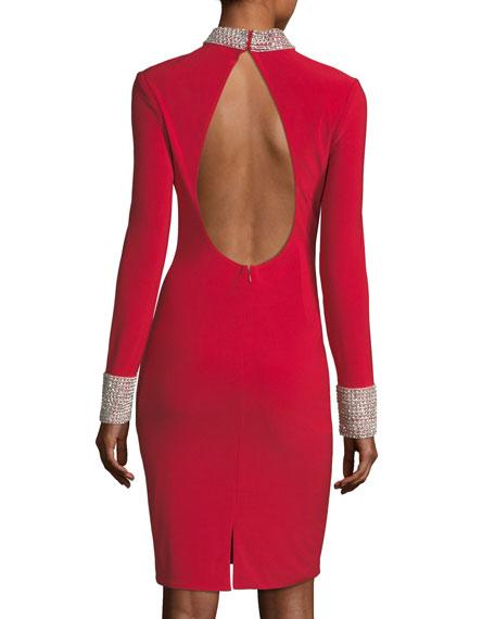 Long-Sleeve Cutout Back Jersey Cocktail Dress w/ Jewel Bands