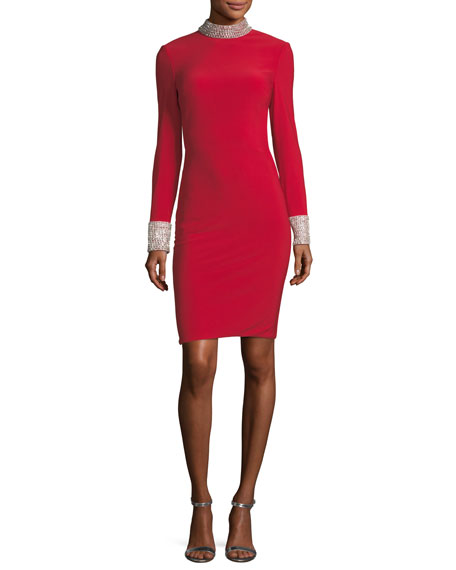 Jovani Long-Sleeve Cutout Back Jersey Cocktail Dress w/