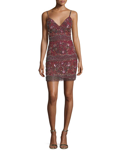 Beaded V-Neck Slip Cocktail Dress