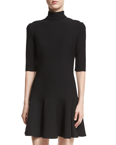 Reeder Turtleneck Elbow-Sleeve Mini Dress