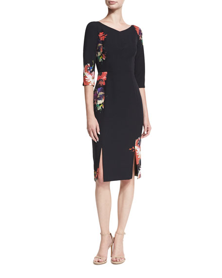 Black Halo Prism Floral-Printed V-Neck Sheath Dress