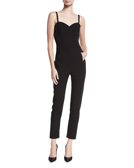 Black Halo Daria Sweetheart-Neck Sleeveless Tapered Jumpsuit