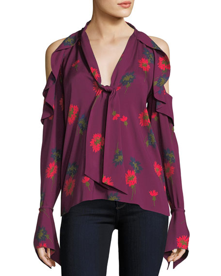 Adriene Spaced-Out Floral Cold-Shoulder Silk Blouse