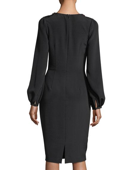 Long-Sleeve Braid-Trimmed V-Neck Crepe Cocktail Dress