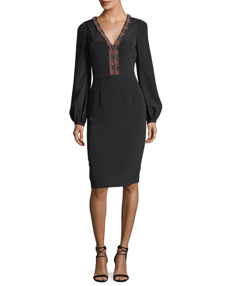 David Meister Long-Sleeve Braid-Trimmed V-Neck Crepe Cocktail