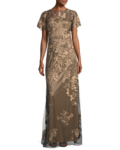 Flutter-Sleeve Floral-Lace Evening Gown