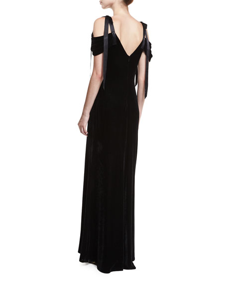 Cold-Shoulder Velvet Evening Gown w/ Floral Appliqué
