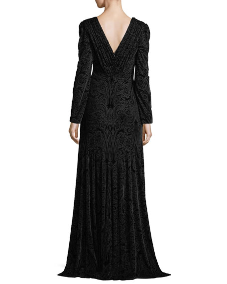 Long-Sleeve Deep V-Neck Burnout Velvet Mermaid Gown