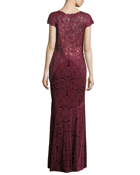 Cap-Sleeve Sequined Burnout Velvet Evening Gown